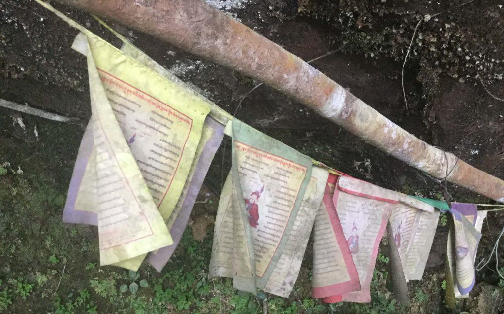 Tibetan prayer flags at Yinhe Cave Temple