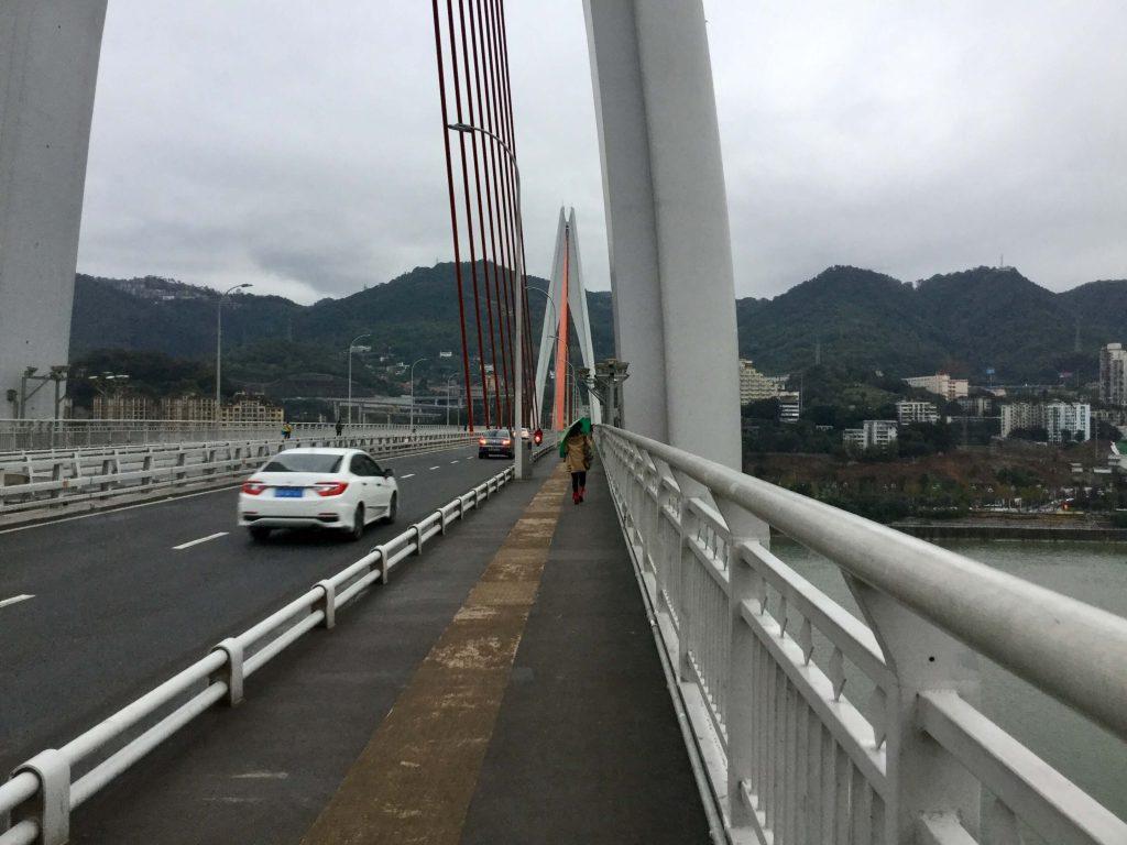 Walking across the bridge over the Yangtze, Chongqing