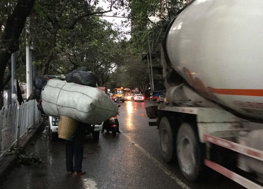 A chaotic street scene in Chongqing