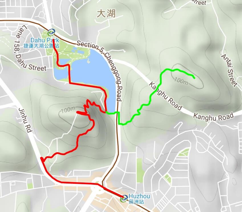 Map of the Bailusishan and Kangleshan hiking trails in Neihu