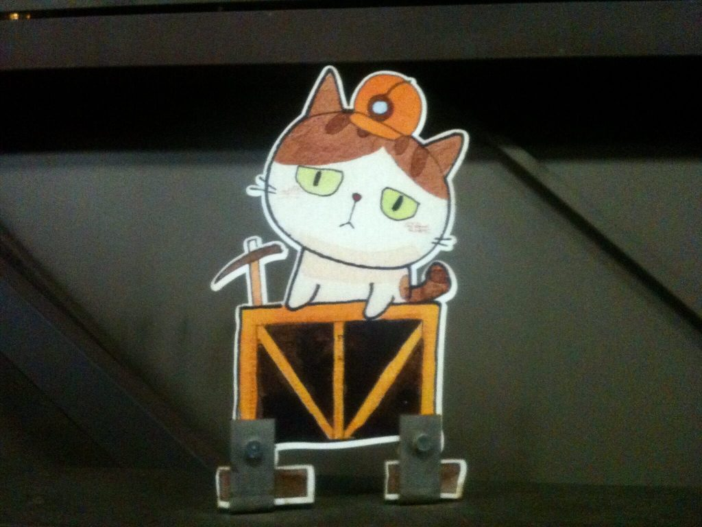 A cat miner mascot in Houtong Station