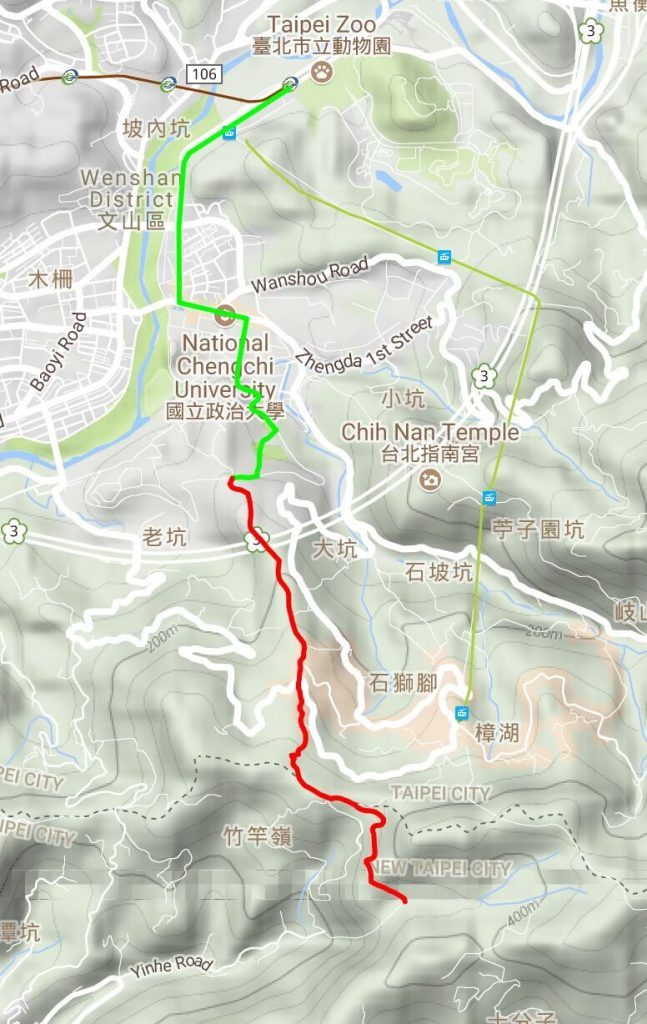 Map of the hiking route to Yinhe Cave Temple