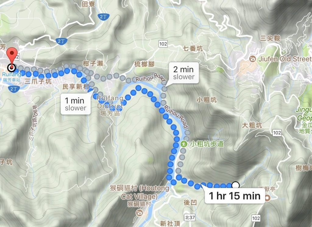 Walking route from Ruifang to Houtong