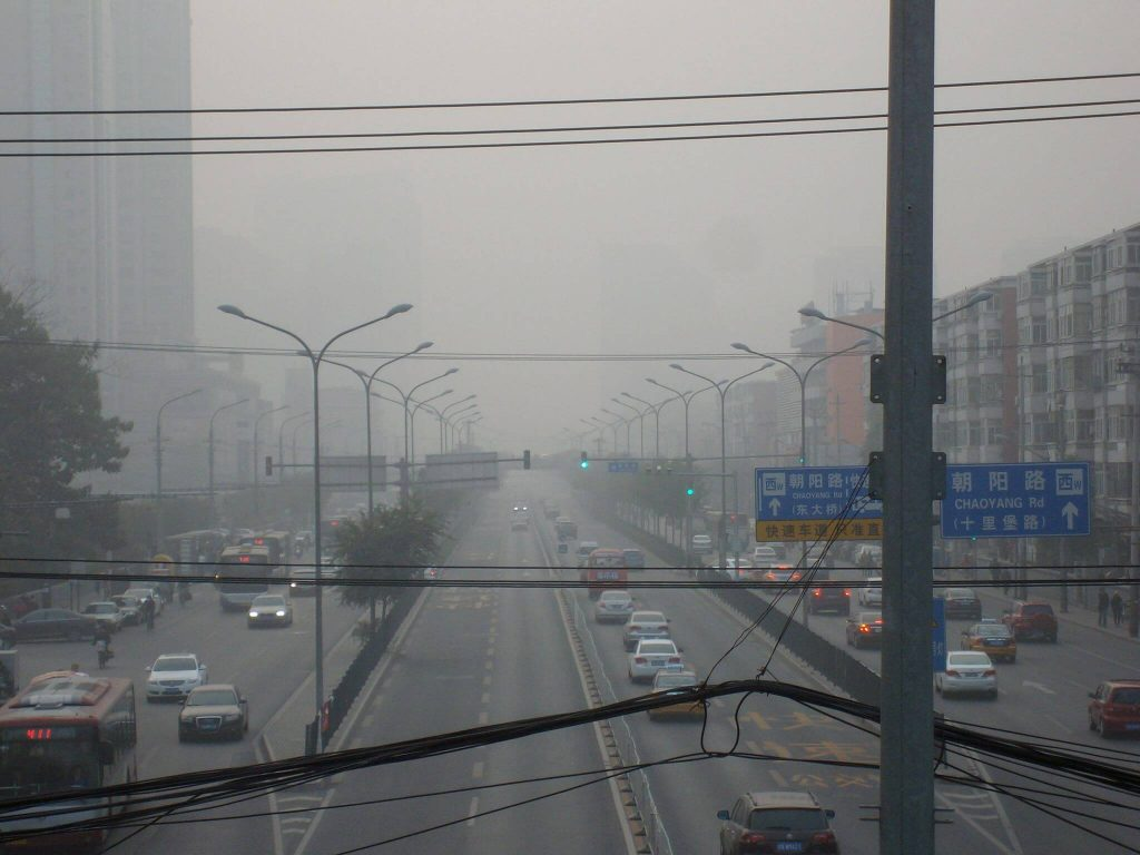 Beijing on a day with severe PM2.5 air pollution