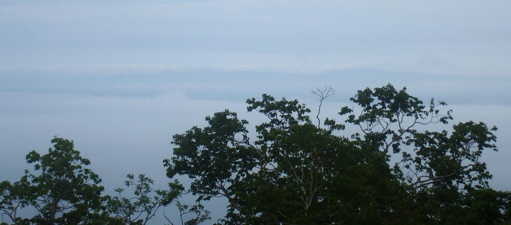 Misty view of Kunashiri from Rausu, Shiretoko