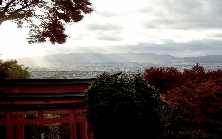 View from Fushimi Inari's Yotsusuji intersection
