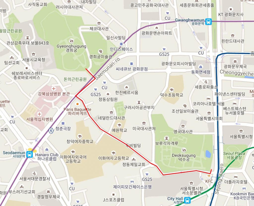 Deoksugung to Gyeonghuigung walking map