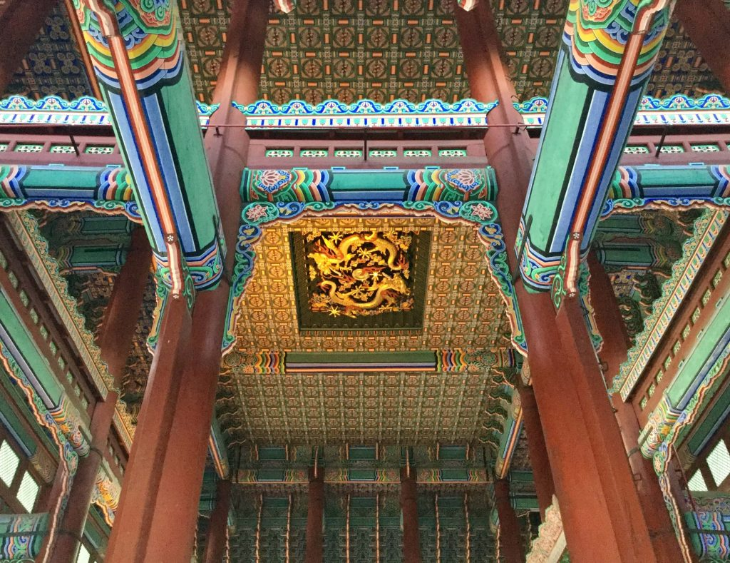 Throne room ceiling detail, Gyeongbokgung palace, Seoul