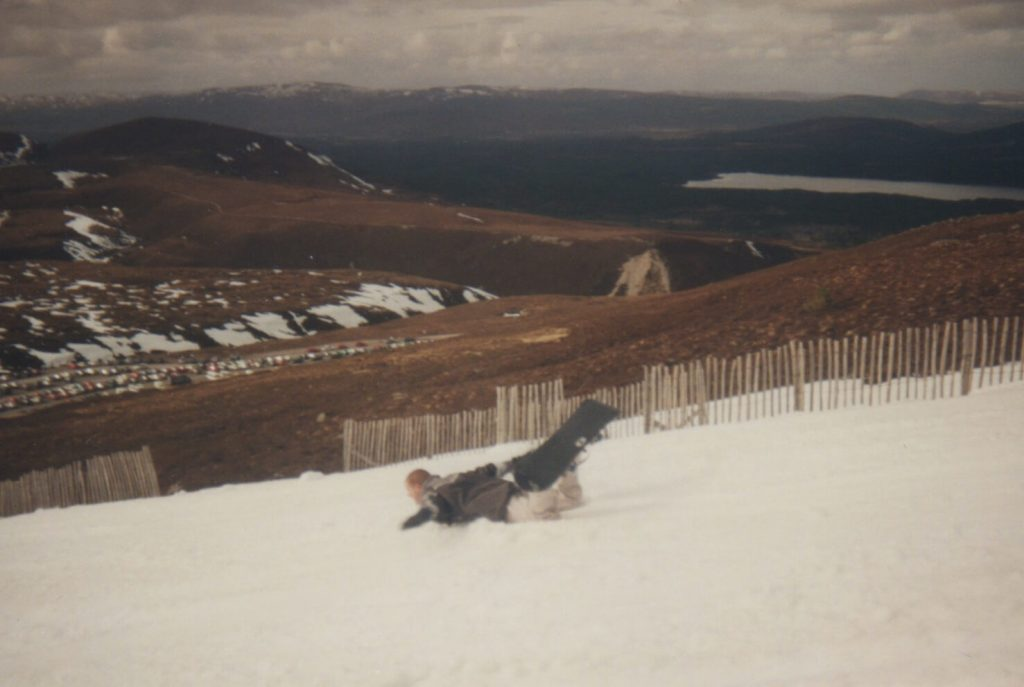 Snowboarding in the Cairngorms, Scotland