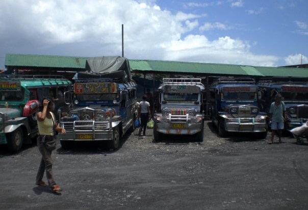 A row of jeepneys at the bus station in Legazpi