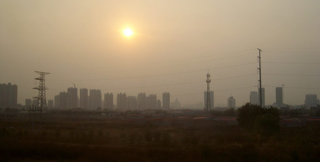Smog through the bullet train window in the vicinity of Shijiazhuang