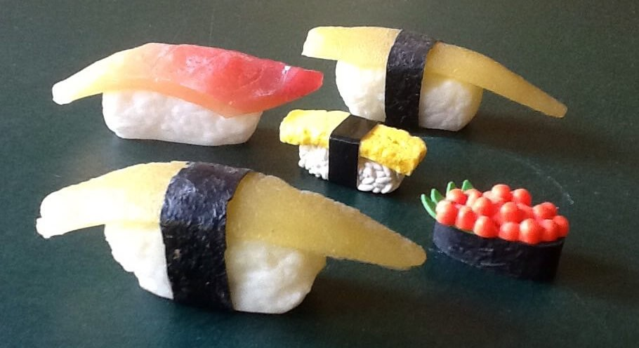 An assortment of plastic display sushi from Kappabashi