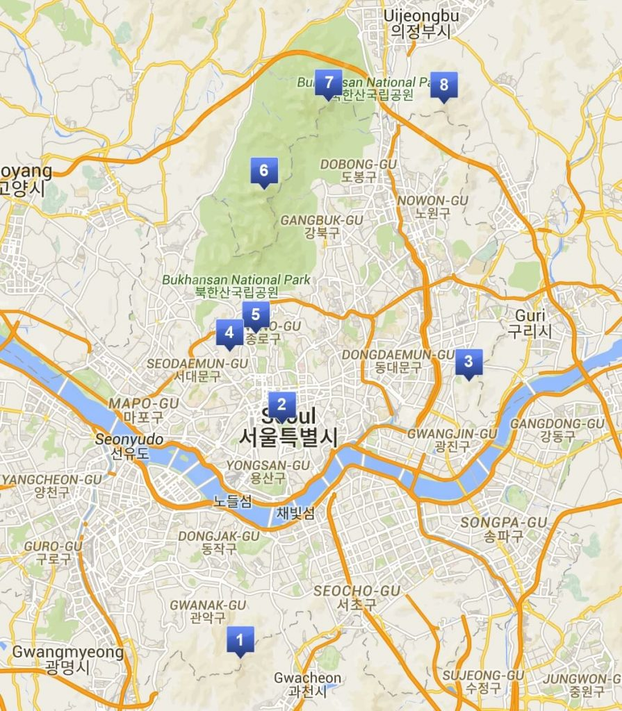 Map of mountain locations in Seoul