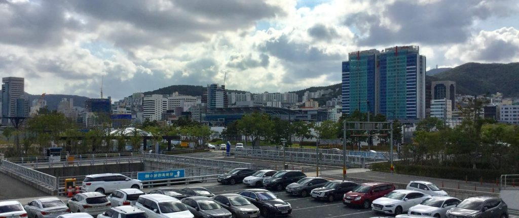View of Busan station from Busan ferry terminal