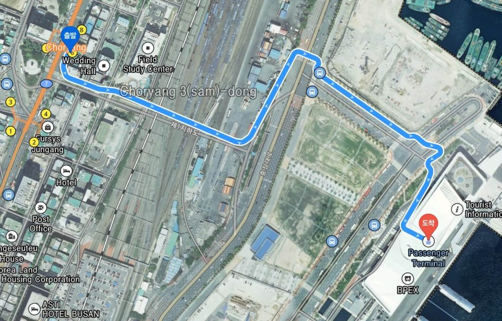 Walking route to Busan ferry terminal from Choryang Station