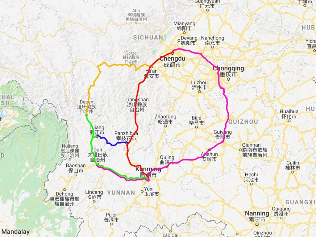 Route options from Chengdu to Yunnan