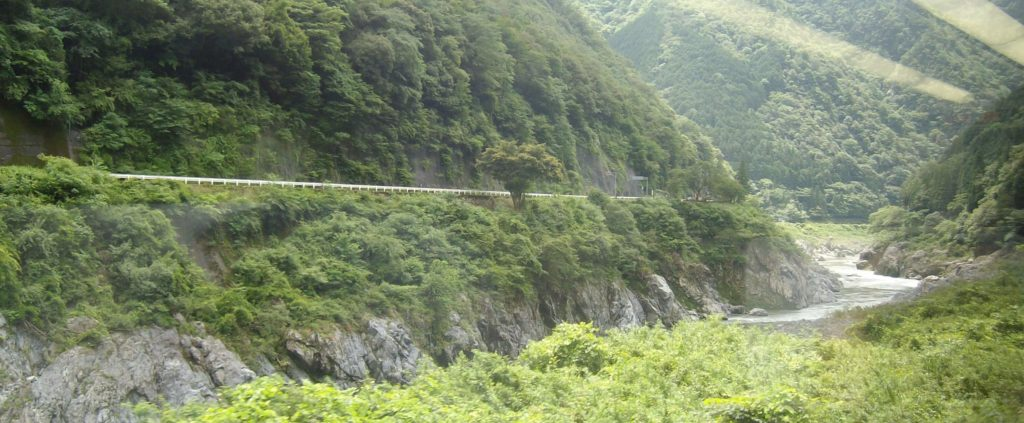 Scenery on the train ride to Takayama from Nagoya by Hida Wide View express train