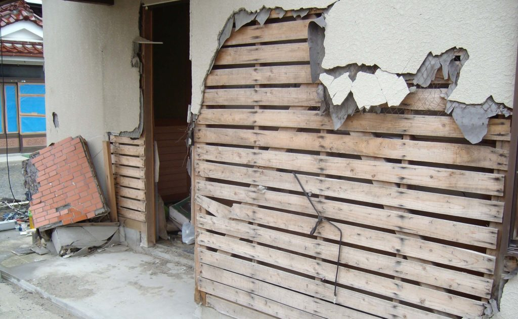 House damage in Ishinomaki after the 2011 tsunami