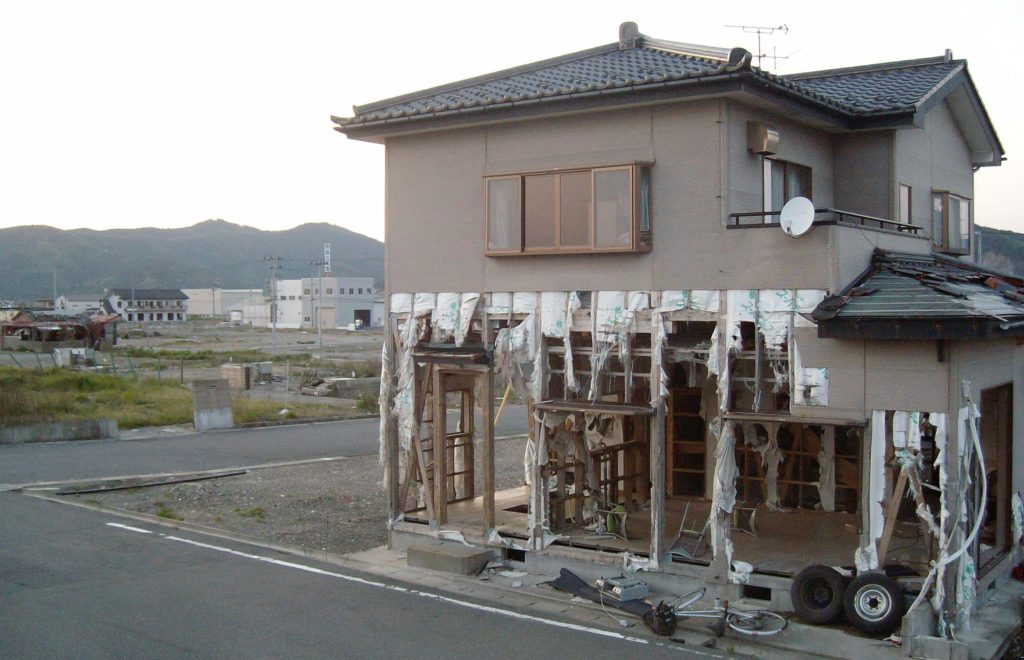 Damaged buildings in Watanoha, Ishinomaki after the 2011 tsunami