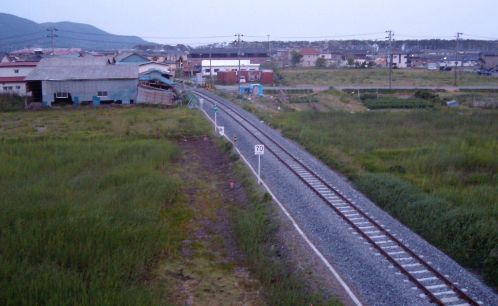 The restored railway line running from Ishinomaki to Onagawa