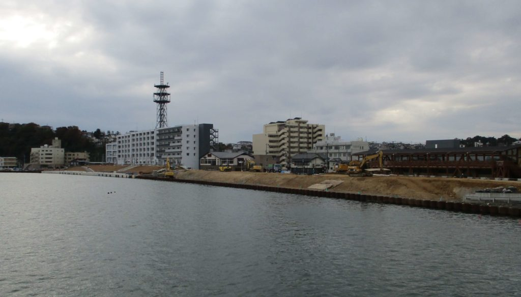 Rebuilt riverside area in Ishinomaki