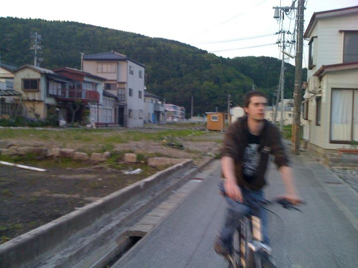 Riding bikes through Ishinomaki after volunteering