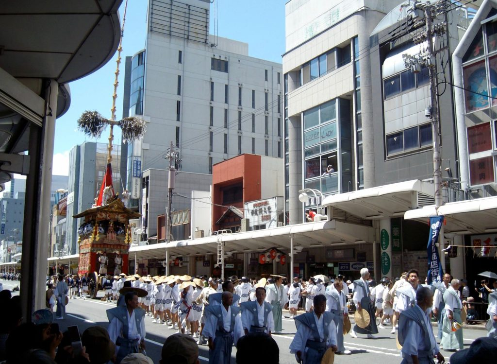 Gion Festival float moving up Kawaramachi