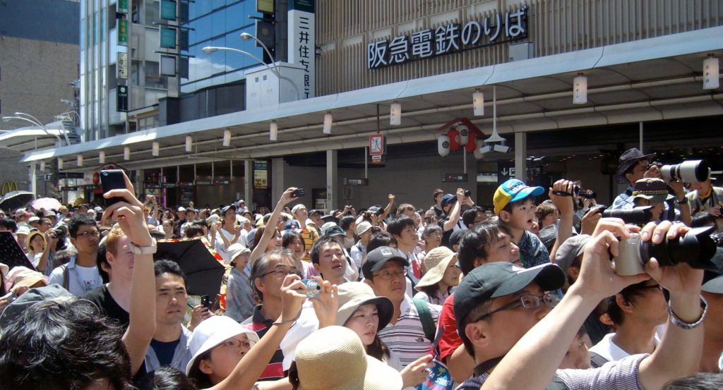 Heavy crowds at the Gion Festival