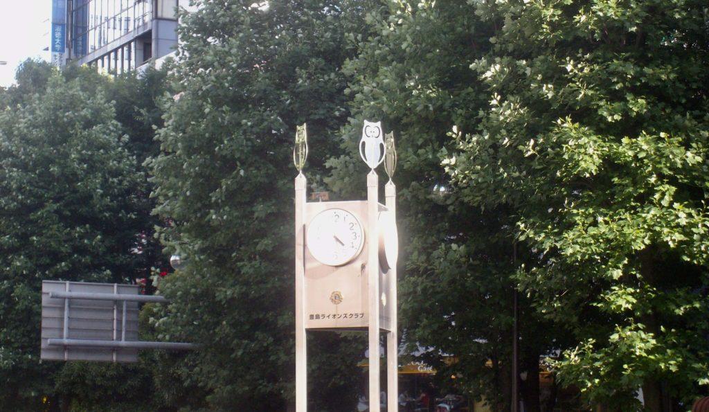 Owls on a clock in Ikebukuro