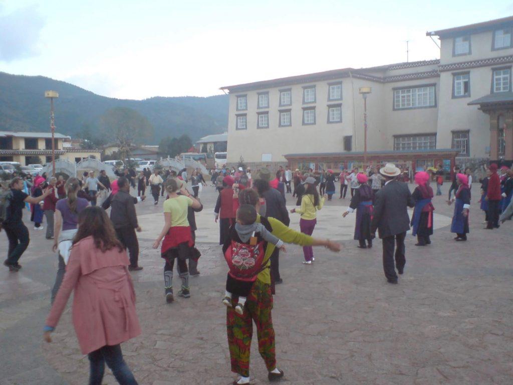 Dancing in the central square in Shangri La