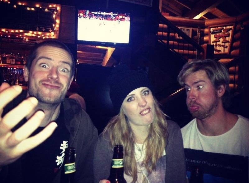 Pulling faces for the camera with my brother & sister in Whistler