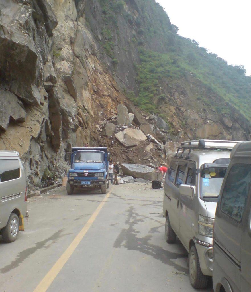 Massive landslide in Tiger Leaping Gorge