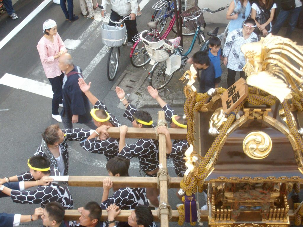 Portable shrines at a festival in Tokyo