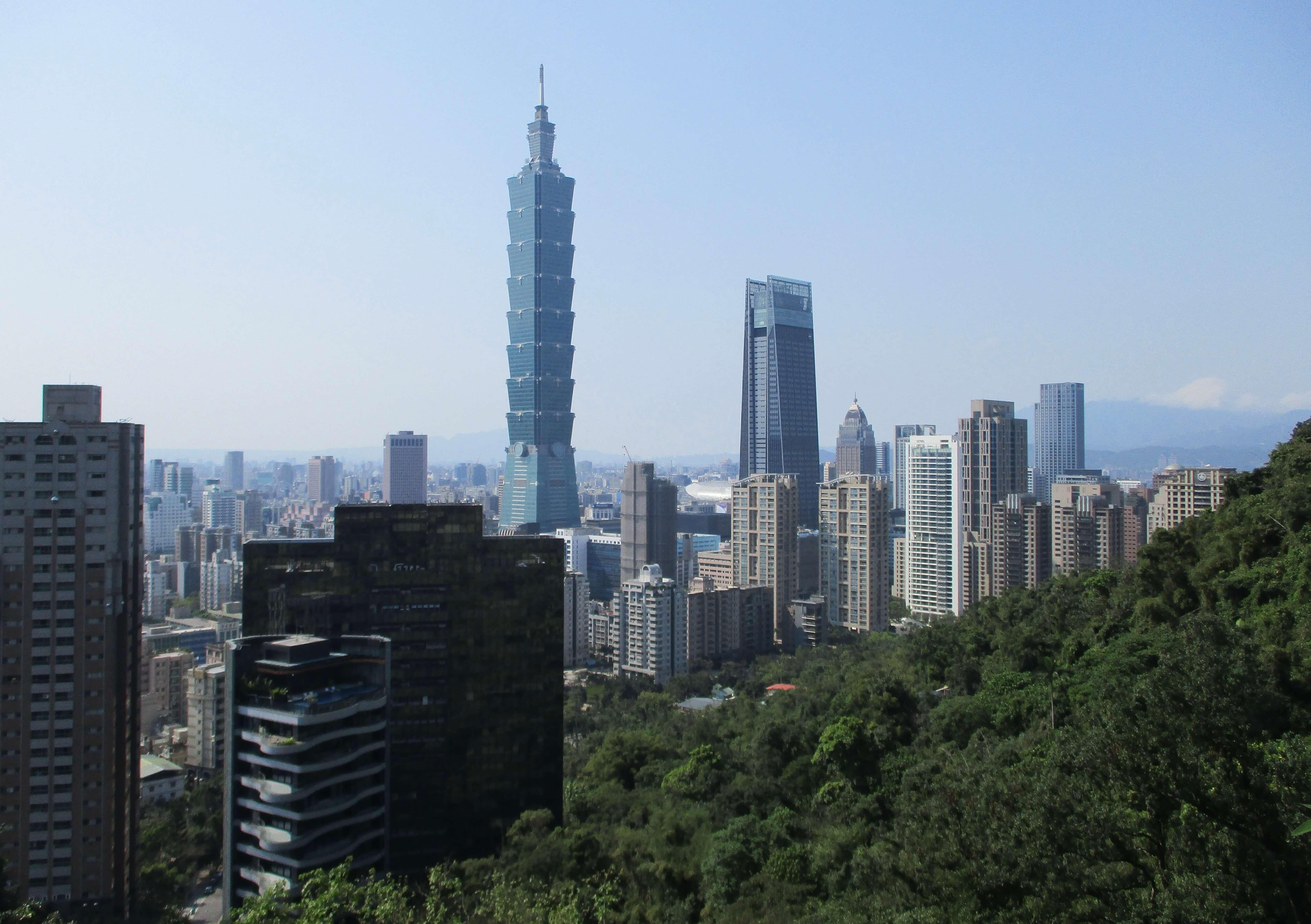 Taipei 101 & Nanshan Plaza seen from the Xiangshan hiking trail
