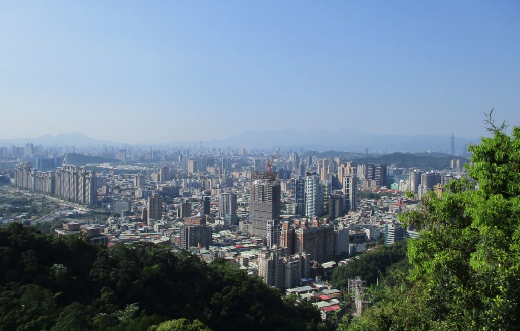 View of Taipei 101 from the top of Lion's Head Mountain
