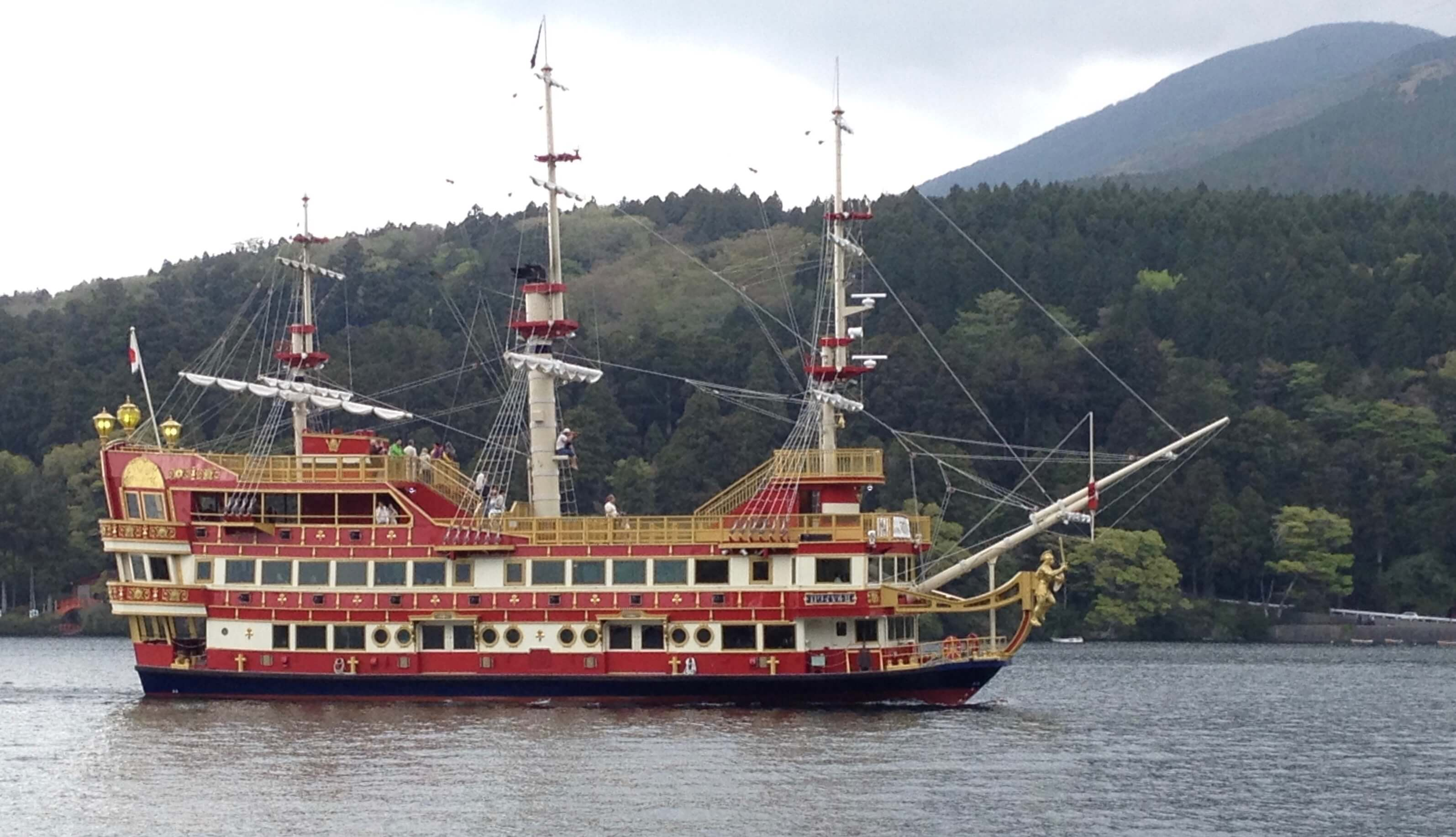 Sightseeing boat on the lake in Hakone