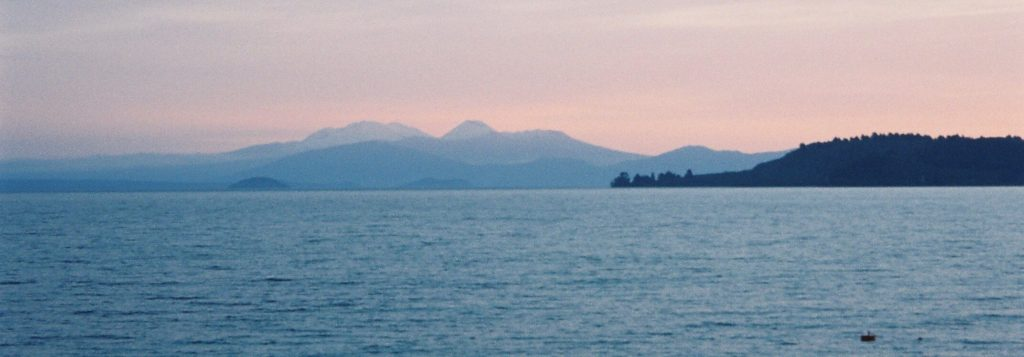 Looking across Lake Taupo towards Tongariro and Ruapehu