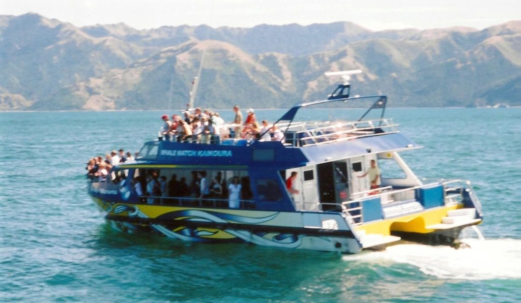 Whale watching boat in Kaikoura