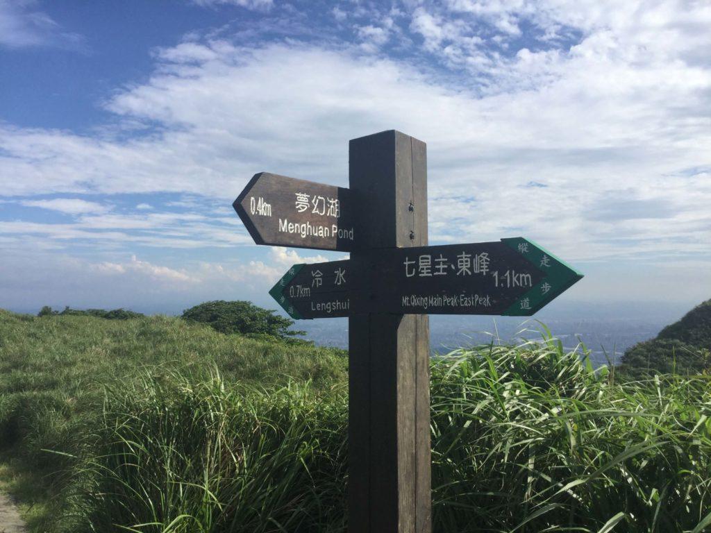 Signpost in Yangmingshan Park
